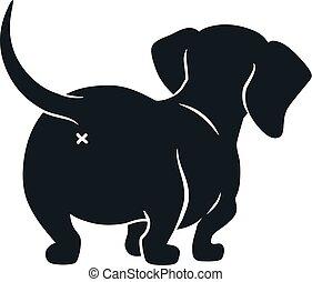 chien, fesses, vue., mignon, silhouette, dessin, isolé, ...