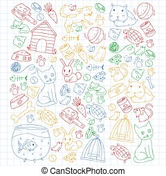 chien, fish, coloré, shop., chouchou, chat, animaux, illustration, puppy., vecteur, oiseau, clinic., fond, chaton, vétérinaire