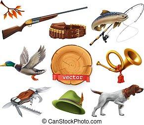 chien, horn chasse, set., fusil chasse, canard, peche, vecteur, chapeau, knife., 3d, icône