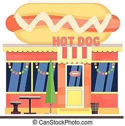 chien, illustration, devant, chaud, vecteur, noël., café
