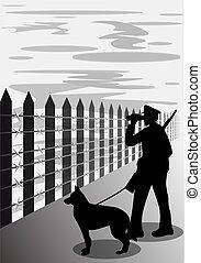 chien, illustration, silhouette, garde, vecteur, frontière