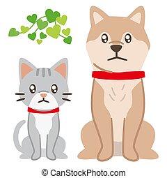 chien, illustration, triste, dévisager, chat blanc, yeux, fond