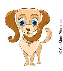 chien, illustration, vecteur, white., chiot, dessin animé