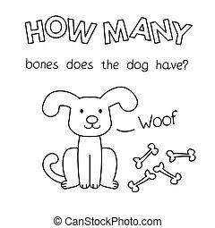 chien, jeu, dénombrement, coloration, dessin animé, livre