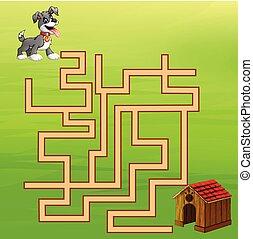 chien, jeu, manière, labyrinthe, maison, trouver