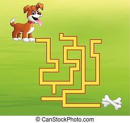 chien, jeu, manière, os, labyrinthe, trouver
