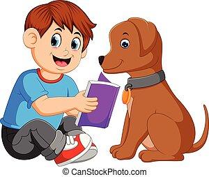 chien, livre, lecture homme, sien