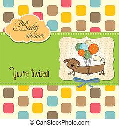 chien, long, douche, bébé, ballons, carte