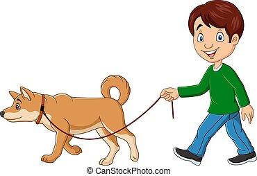 chien marche, garçon, mignon