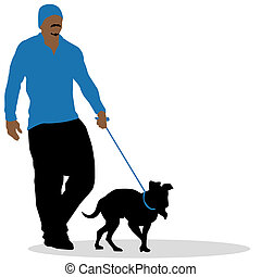 chien marche, homme