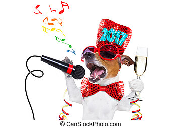 chien, nouvel an, celberation, heureux