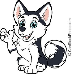 chien, onduler, patte, mignon, husky