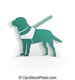 chien, papier, guide, icône