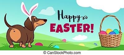 """chien partie, easter!"""", """"happy, chasse, printemps, texte, ..."""