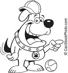 chien, pointing., dessin animé