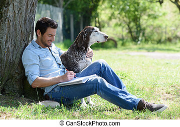 chien, portrait, homme, sien