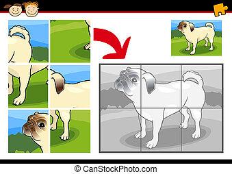 chien, puzzle, puzzle, jeu, dessin animé