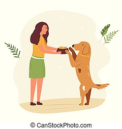 chien, rue, jeune, alimentation, volontaire, girl, mignon
