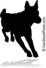 chien, silhouette, animal, chouchou