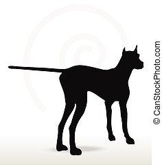 chien, silhouette, encore, pose