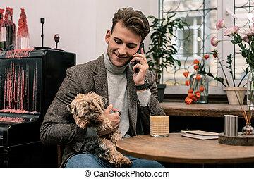 chien, téléphone, quoique, appeler, tenue, confection, homme