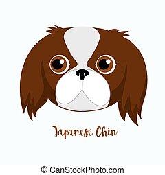 chien, vecteur, menton, japonaise