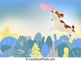 chien vole, air, beagle, disque, attraper
