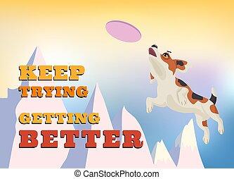 chien vole, air., beagle, disque, attraper