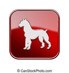 chien, zodiaque, icône, rouges, isolé, blanc, arrière-plan.