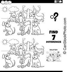 chiens, coloration, différences, dessin animé, tâche, page, livre