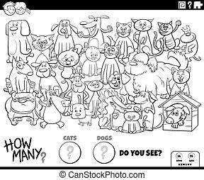 chiens, dénombrement, pédagogique, jeu, couleur, page, chats, livre