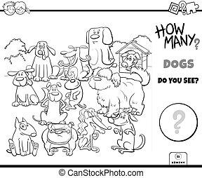chiens, dénombrement, pédagogique, tâche, couleur, page, livre