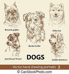 chiens, dessin, main, 2, ensemble