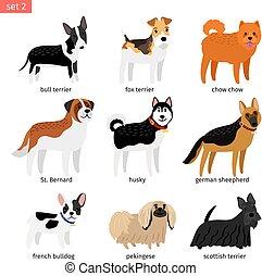 chiens, ensemble, dessin animé, icônes