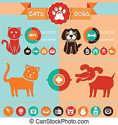 chiens, ensemble, -, vecteur, infographics, chats, éléments