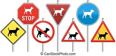 chiens, panneaux signalisations
