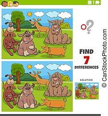 chiens, tâche, pédagogique, différences, gosses