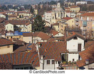 Aerial view of the city of Chieri from the Chiesa di San Giorgio meaning St George church