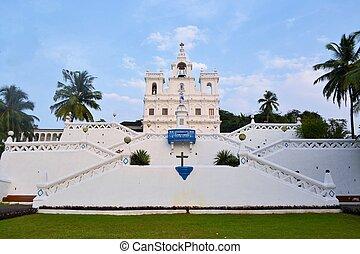 chiesa, di, mary, concezione immacolata, panaji, goa, india