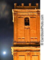 chiesa, facciata, luna piena, notte