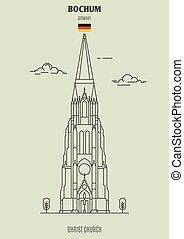 chiesa, germany., punto di riferimento, bochum, cristo, icona