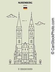chiesa, germany., punto di riferimento, icona, nuremberg, sebaldus, st.