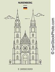 chiesa, germany., punto di riferimento, lorenzo, icona, nuremberg, st.