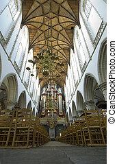chiesa, interno, con, organo