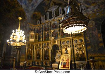 chiesa, interno, soffitto, meraviglioso, ortodosso