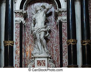 chiesa, italia, venecia, -, interior, degli, scalzi