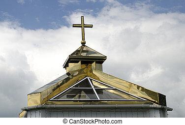 chiesa ortodossa, cupola, e, dorato, cristiano, croce