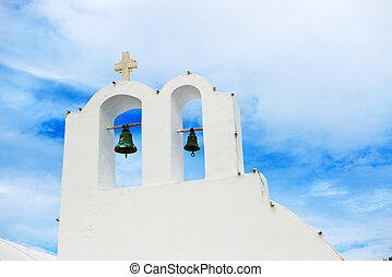 chiesa ortodossa, su, isola santorini, grecia