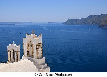 chiesa ortodossa, su, isola santorini, (greece)