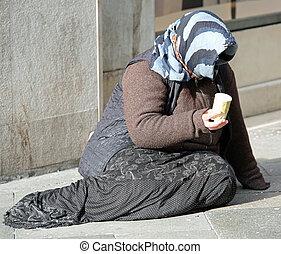chiesa, senzatetto, carità, anziano, strade, città, donna